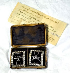 A pair of shoe buckles from one of our collections. Visit the library to find out why they are one of our 'treasures'.