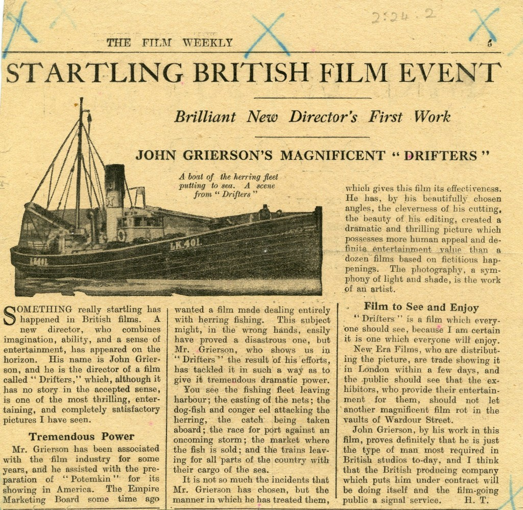 Review of Drifters in The Film Weekly (November 1929).