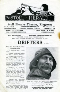 Publicity advertisement for Drifters, Stoll Herald, 1929 (ref. Grierson Archive G2.1.5)