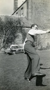 Norman McLaren dancing in the garden of the family home, 21 Albert Place, Stirling, c 1936.