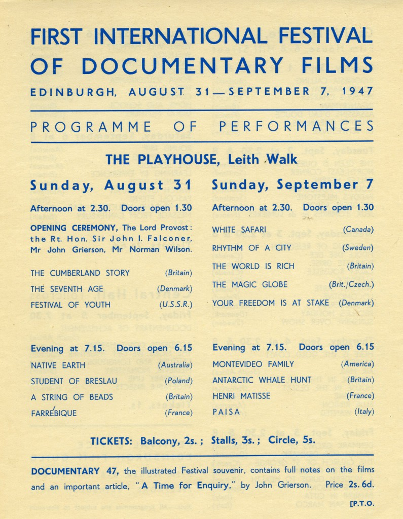 Front of leaflet listing films shown at the first Edinburgh Film Festival