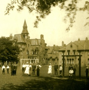 Staff and patients in the grounds of the RSNH, Larbert.