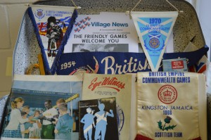 A selection of the Commonwealth Games memorabilia collected by Willie Carmichael which has been donated to the archive.