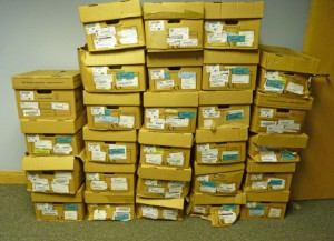 The collection arrived in these boxes in 2012