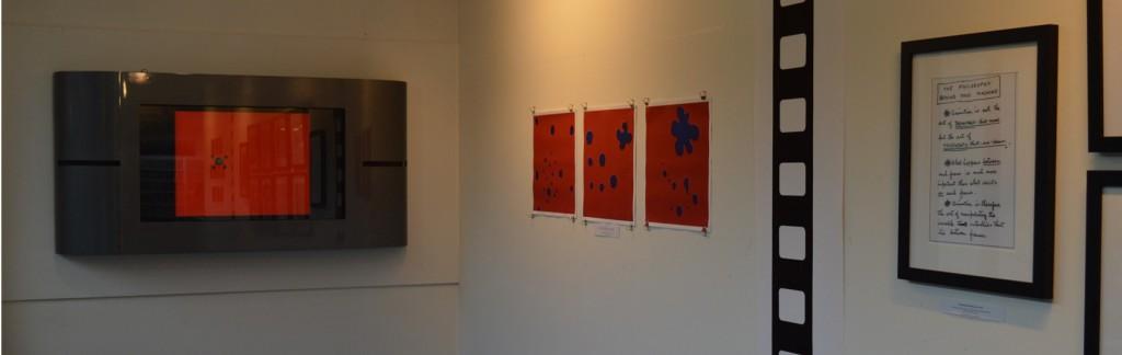 Part of student exhibition looking at Norman McLaren's interpretation of sound in his films.