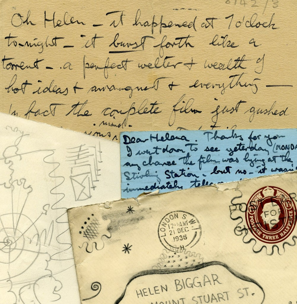Examples of the letters and postcards sent by Norman McLaren to Helen Biggar.