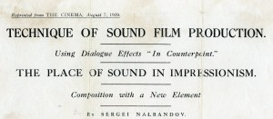 Changing concepts - the introduction of sound to film (ref. Grierson Archive, G2.23.4)