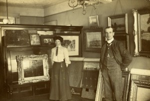 Norman McLaren's father in the showroom of his decorating business, Maxwell Place, Stirling, c 1910.