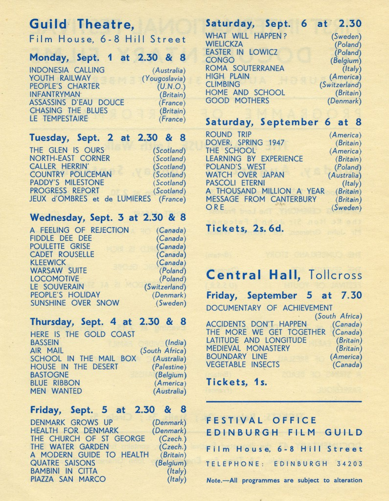 Reverse of leaflet listing films shown at first Edinburgh Film Festival