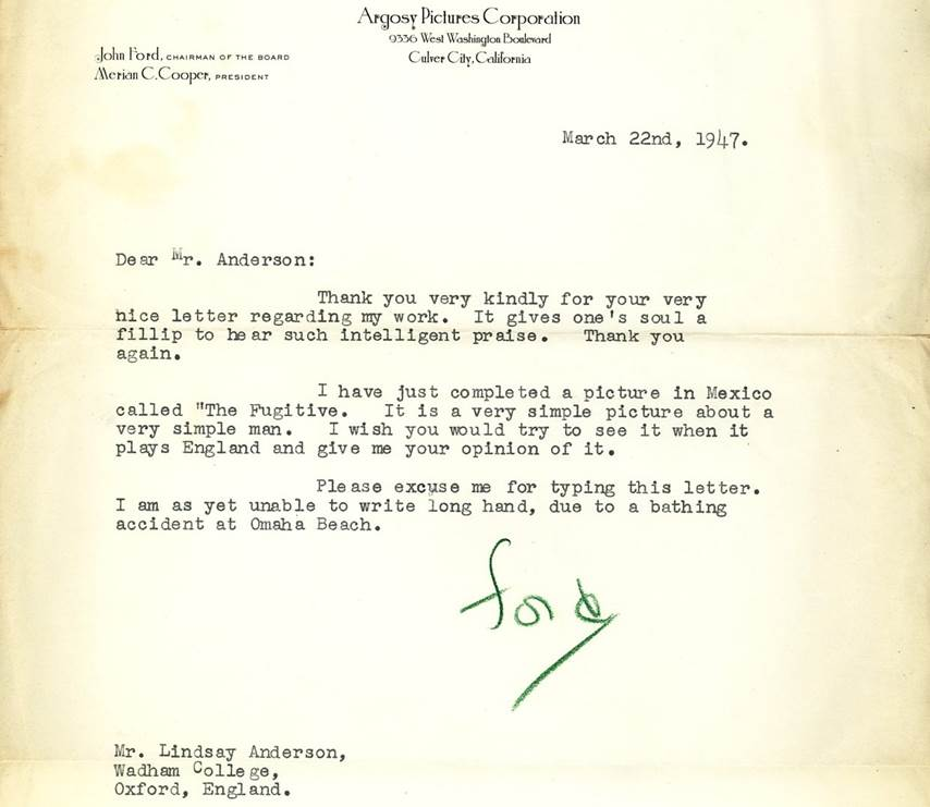 John Ford's letter to Lindsay Anderson in which he mentions his 'bathing accident at Omaha Beach.' (Ref. LA 5/1/2/13/1)