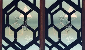 Honeycomb, Stereoscopic painting (left and right) by Norman McLaren, c 1946.