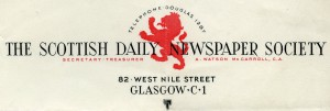Letterhead of the Scottish Daily Newspaper Society, c 1945.