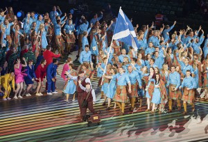 A Scottish terrier introduces Team Scotland at the opening ceremony